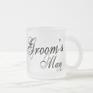 Naughy Grunge Script - Groom's Man Black Frosted Glass Coffee Mug