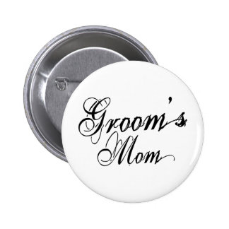 Naughy Grunge Script - Groom's Mom Black Buttons