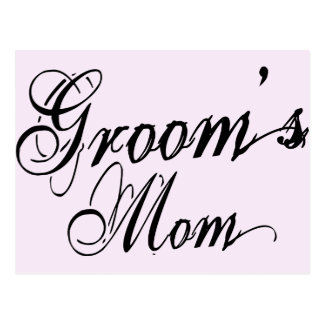 Naughy Grunge Script - Groom's Mom Black Postcard