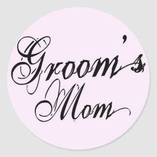 Naughy Grunge Script - Groom's Mom Black Round Stickers