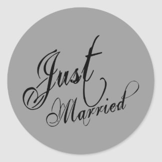 Naughy Grunge Script - Just Married Black Classic Round Sticker