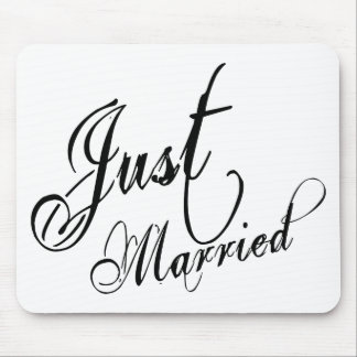 Naughy Grunge Script - Just Married Black Mouse Pad