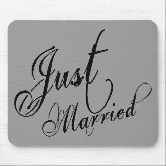 Naughy Grunge Script - Just Married Black Mousepad