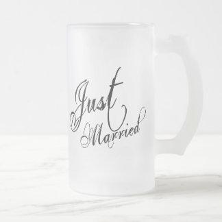 Naughy Grunge Script - Just Married Black Mug