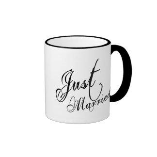 Naughy Grunge Script - Just Married Black Coffee Mug