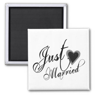 Naughy Grunge Script - Just Married Heart Black 2 Inch Square Magnet