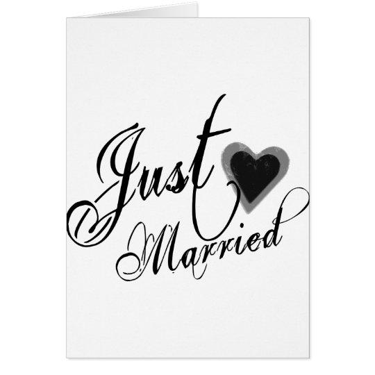 Naughy Grunge Script - Just Married Heart Black Card
