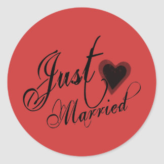 Naughy Grunge Script - Just Married Heart Black Classic Round Sticker