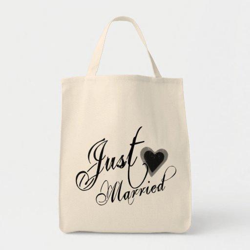 Naughy Grunge Script - Just Married Heart Black Grocery Tote Bag
