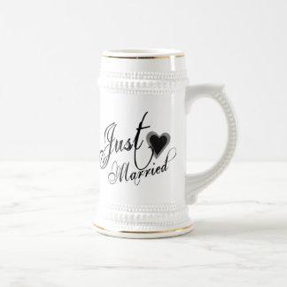 Naughy Grunge Script - Just Married Heart Black Mug
