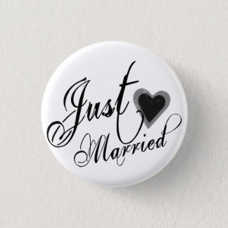 Naughy Grunge Script - Just Married Heart Black Pinback Button