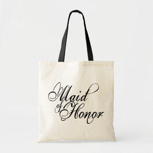Naughy Grunge Script - Maid Of Honor Black Canvas Bags
