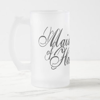 Naughy Grunge Script - Maid Of Honor Black Frosted Glass Beer Mug