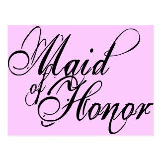 Naughy Grunge Script - Maid Of Honor Black Postcard