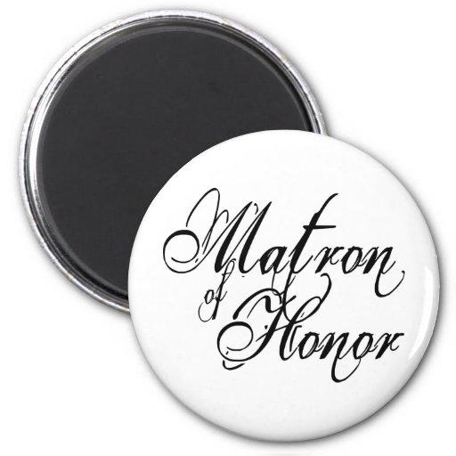 Naughy Grunge Script - Matron Of Honor Black Magnets