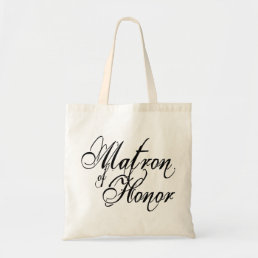 Naughy Grunge Script - Matron Of Honor Black Tote Bag
