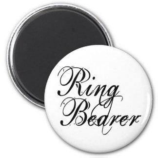 Naughy Grunge Script - Ring Bearer Black 2 Inch Round Magnet