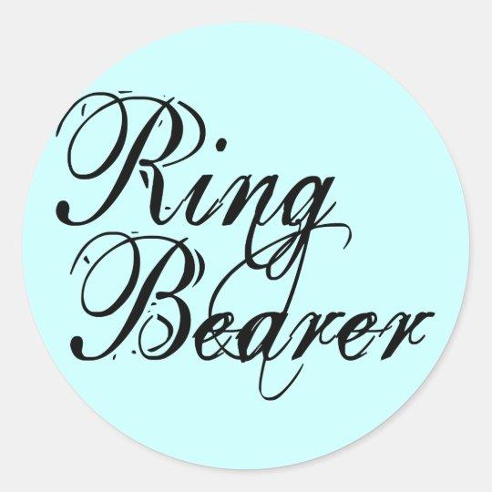 Naughy Grunge Script - Ring Bearer Black Classic Round Sticker
