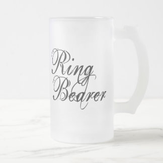 Naughy Grunge Script - Ring Bearer Black Frosted Glass Beer Mug