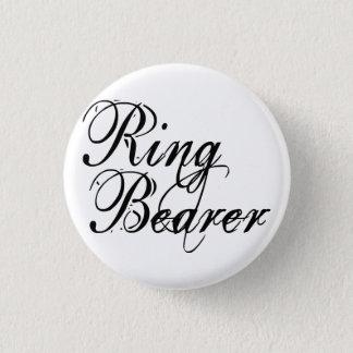 Naughy Grunge Script - Ring Bearer Black Pinback Button