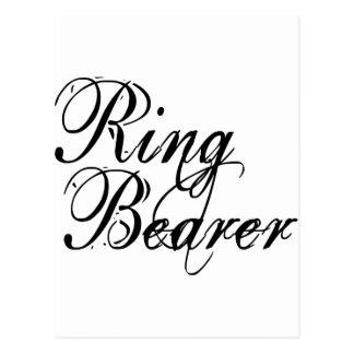 Naughy Grunge Script - Ring Bearer Black Postcard