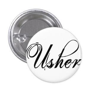 Naughy Grunge Script - Usher Black Pinback Buttons