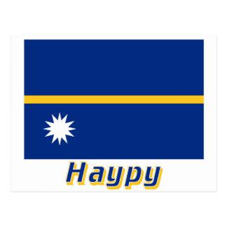 Nauru Flag with name in Russian Postcard