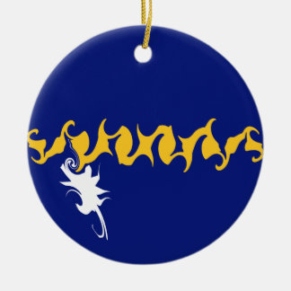Nauru Gnarly Flag Double-Sided Ceramic Round Christmas Ornament