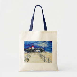 Nauset Light Conferring with the Moon Canvas Bags