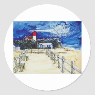 Nauset Light Conferring with the Moon Classic Round Sticker