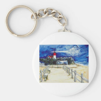 Nauset Light Conferring with the Moon Keychain