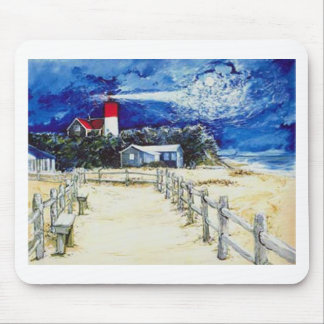 Nauset Light Conferring with the Moon Mouse Pad