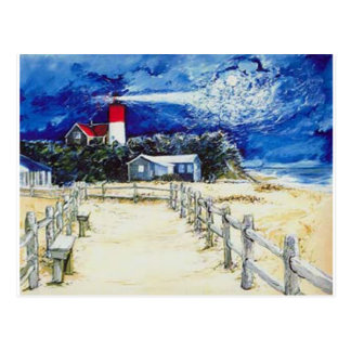 Nauset Light Conferring with the Moon Postcard