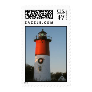 Nauset Lighthouse Cape Cod in winter Postage