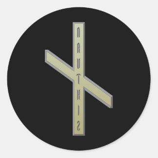 Nauthiz Rune gold Classic Round Sticker