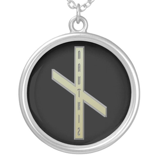 Nauthiz Rune gold Silver Plated Necklace