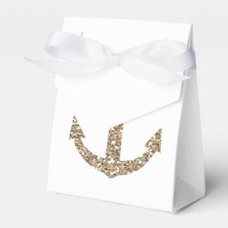 Nautial Anchor Gold Gliter Wedding Favor Boxes