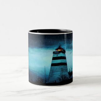 Nautic lighthouse a rainy dark night Two-Tone coffee mug