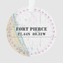 Nautical 2-Sided Fort Pierce Florida Commemorative Ornament