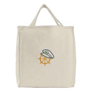 Nautical 4 Motif Embroidered Tote Bag