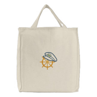 Nautical 4 Motif Embroidered Tote Bag