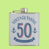 Nautical 50th Birthday Flask