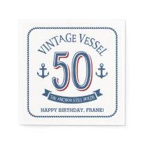 Nautical 50th Birthday Napkin
