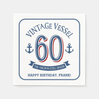 Nautical 60th Birthday Paper Napkin