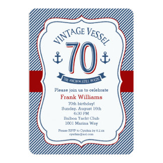 Nautical 70th Birthday Card