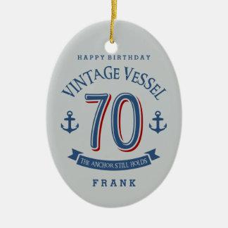 Nautical 70th Birthday Ceramic Ornament