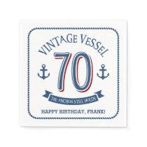 Nautical 70th Birthday Napkin