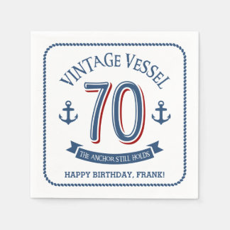 Nautical 70th Birthday Napkin