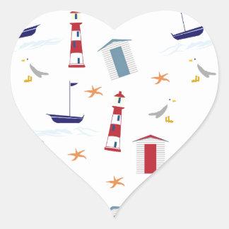 Nautical-788 Pegatina En Forma De Corazón