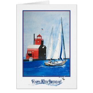 Nautical 80th Birthday Card